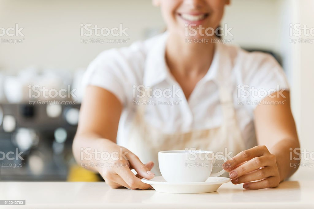 Fresh coffee for you. stock photo
