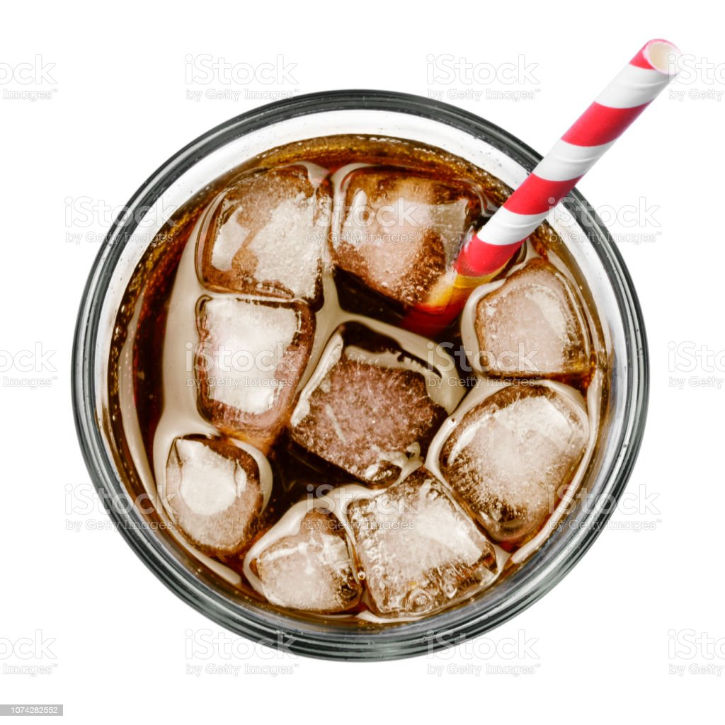 Fresh coke in glass, top view royalty-free stock photo