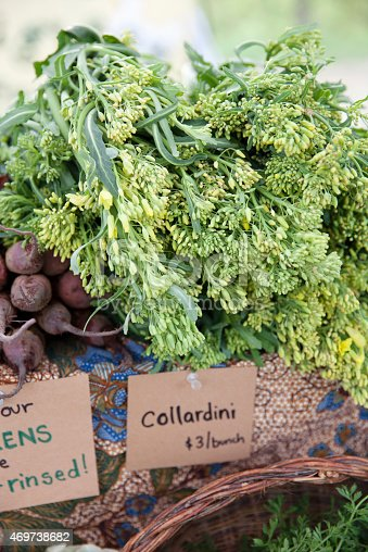 A bounty of fresh collardini, also known as collard raab, for sale at a farmer's market.