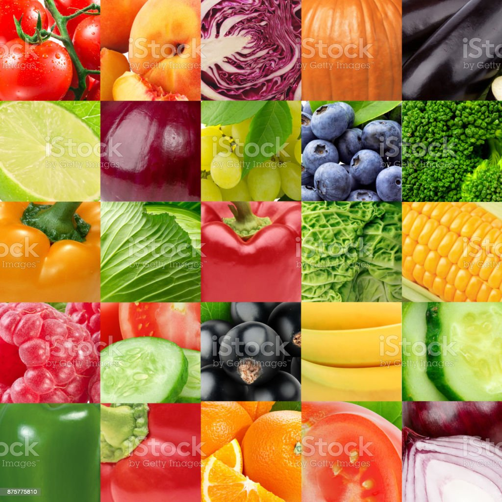 Fresh color fruits and vegetables. Healthy food concept stock photo