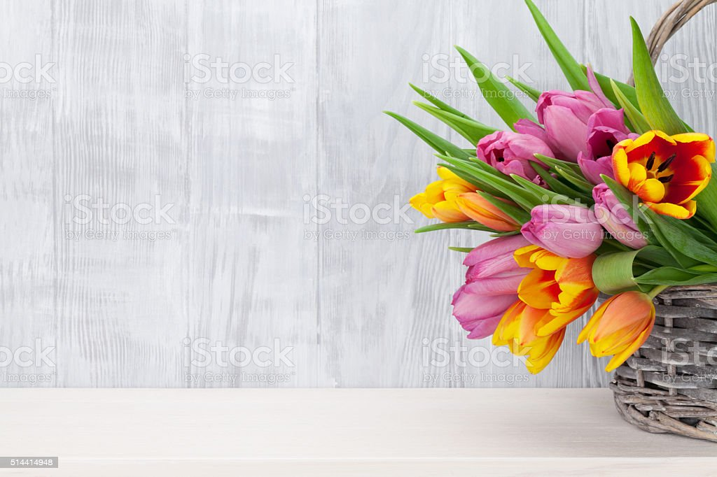Fresh colorful tulip flowers bouquet stock photo