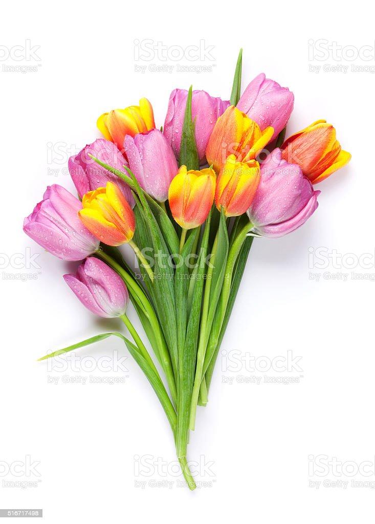 bouquet de fleurs tulipes colorées frais - Photo