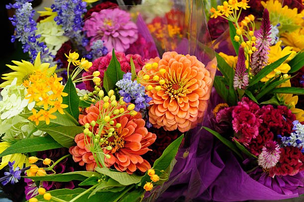 Fresh Colorful Variety Flowers For Sale at Outdoor Market stock photo