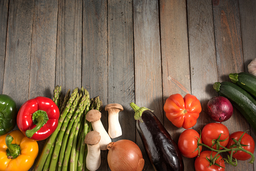 Fresh Colorful Vegetables On Rustic Wooden Table Stock Photo - Download Image Now