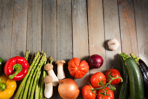 Fresh Colorful Vegetables On Shabby Wood Stock Photo - Download Image Now
