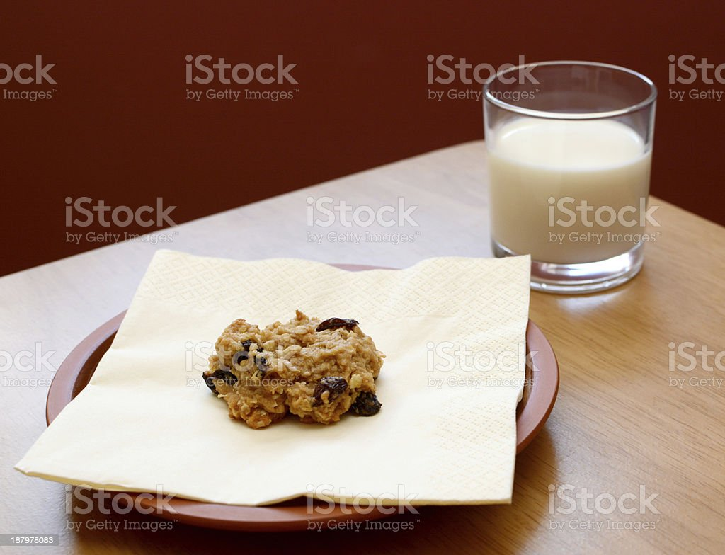 Fresh cookie served with a glass of milk stock photo
