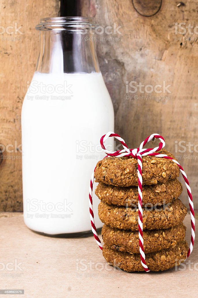 Fresh cookies with almond and brown sugar  red ribbon royalty-free stock photo