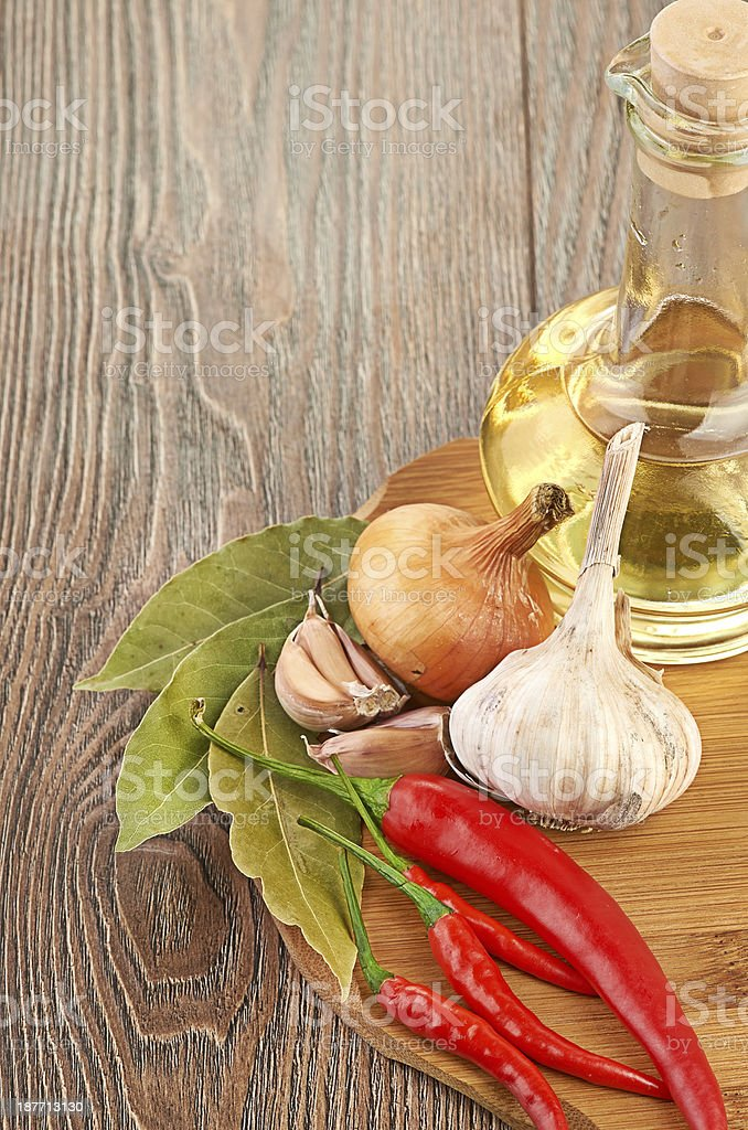 Fresh cooking ingredients with olive oil royalty-free stock photo