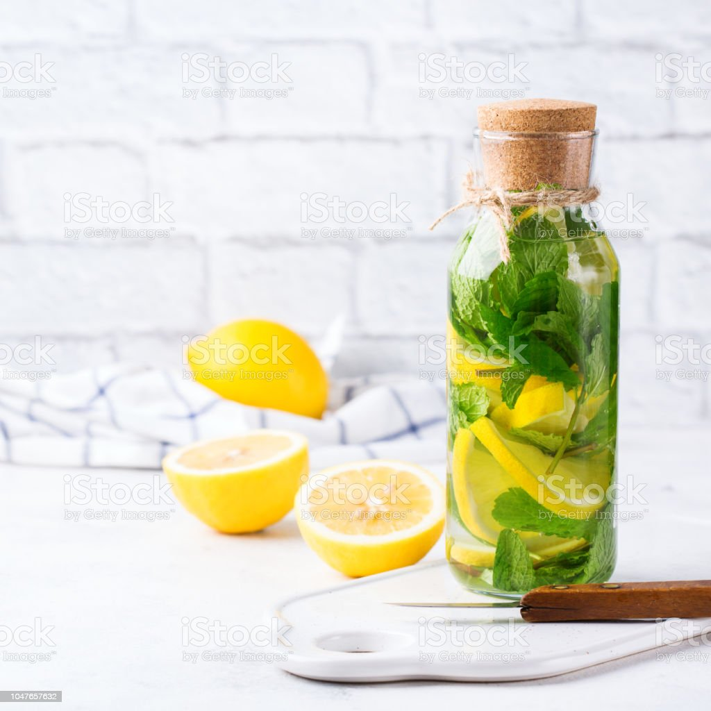 Fresh Cool Lemon Lime Mint Infused Water Detox Drink Stock Photo