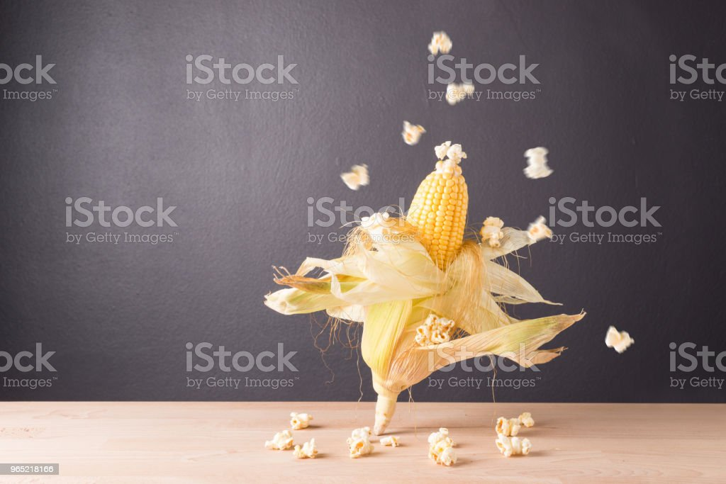 Fresh corn on cob on  wooden table, closeup zbiór zdjęć royalty-free