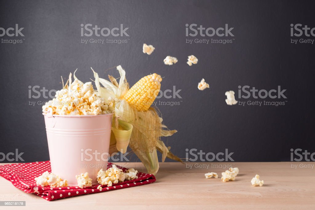 Fresh corn on cob on  wooden table, closeup royalty-free stock photo