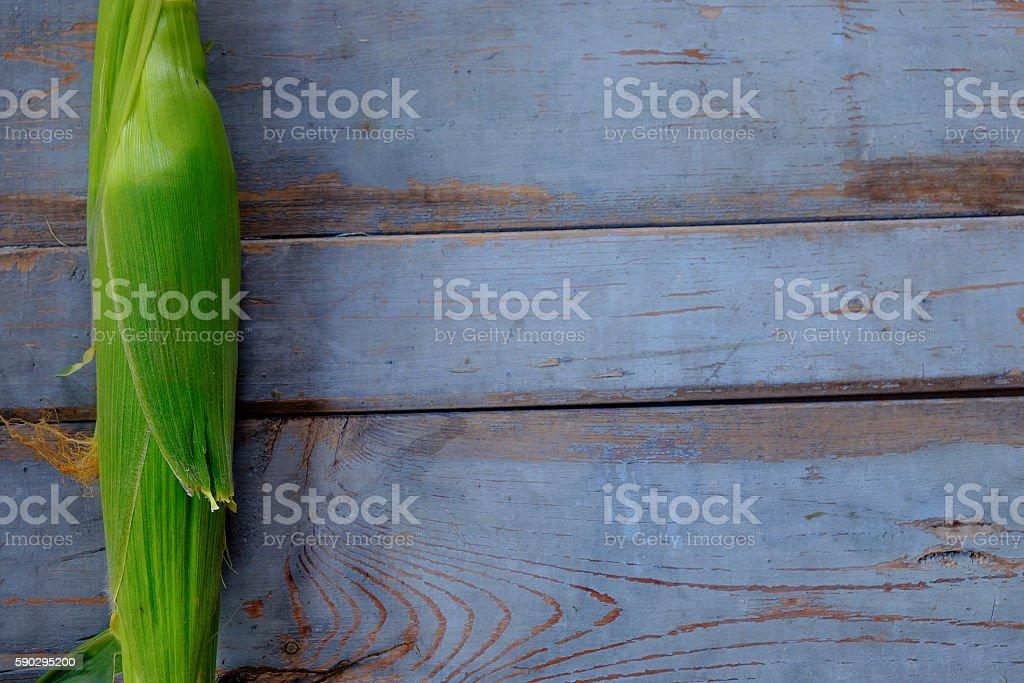 Fresh corn on cobs on rustic wooden table royaltyfri bildbanksbilder