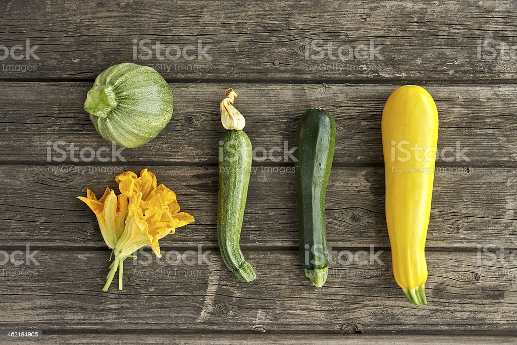 Fresh courgettes from the garden stock photo