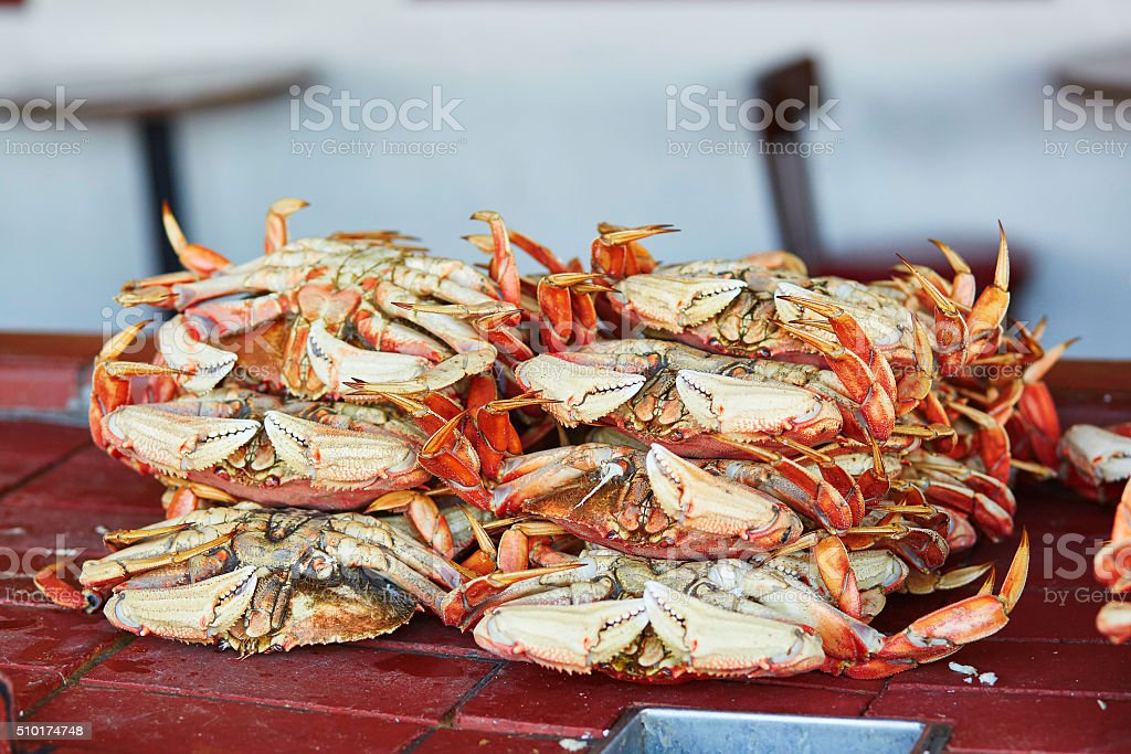 Fresh Crabs In One Of Seafood Restaurants In San Francisco Stock