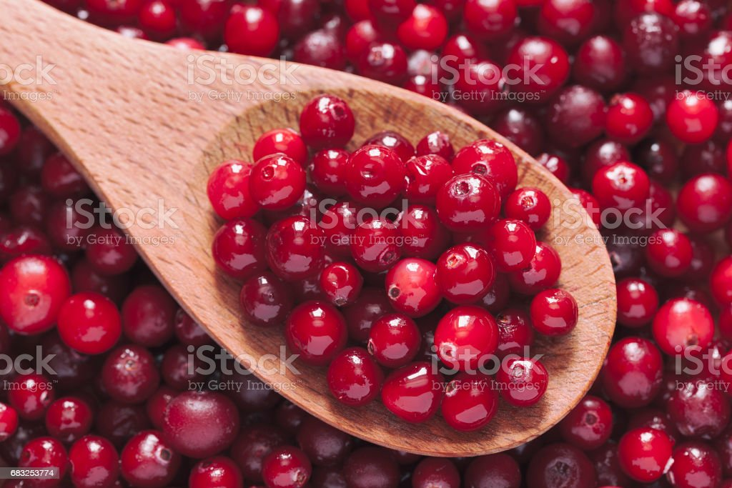 Fresh cranberry in a wooden spoon royalty-free 스톡 사진