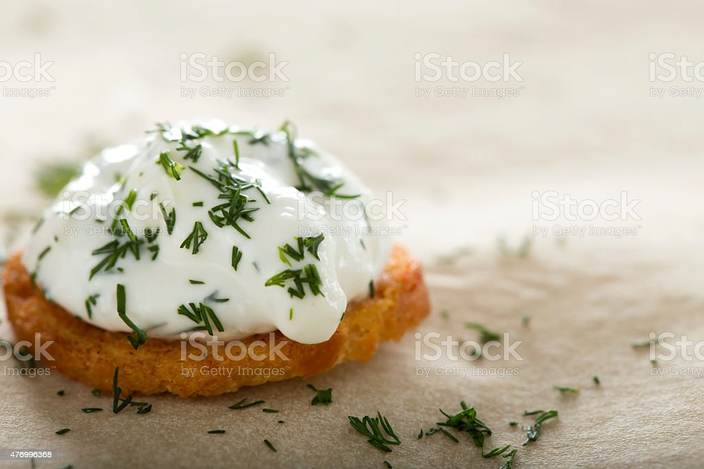 Fresh cream cheese spread stock photo