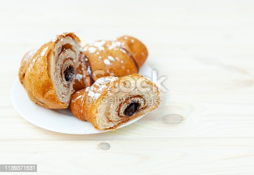 Croissant, great design for any purposes. Food, Bakery, Baking background. Delicious cake. French breakfast. Homemade Sweet dessert with chocolate filling