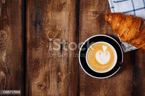 Fresh croissants and coffee with copy space