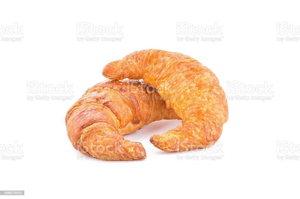 Fresh croissants on white background royalty-free stock photo