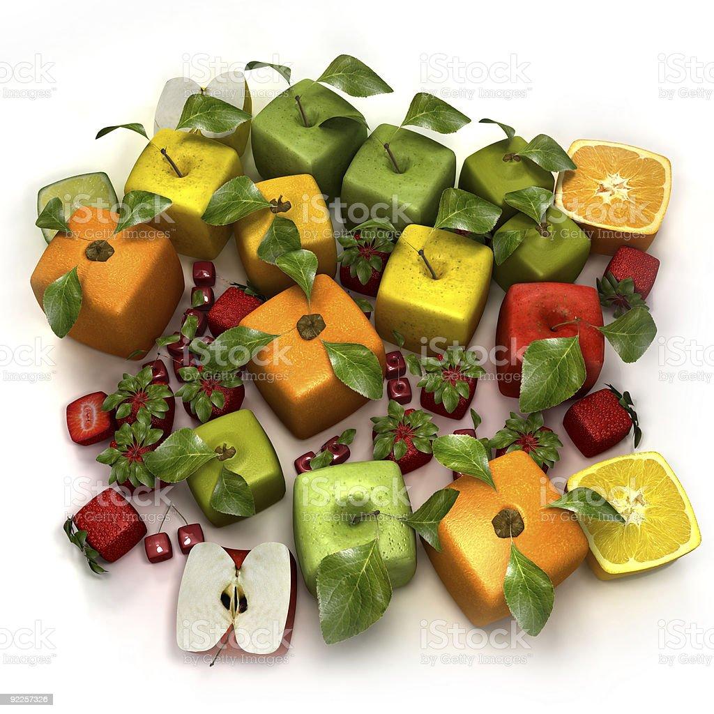 Fresh cubic fruits royalty-free stock photo