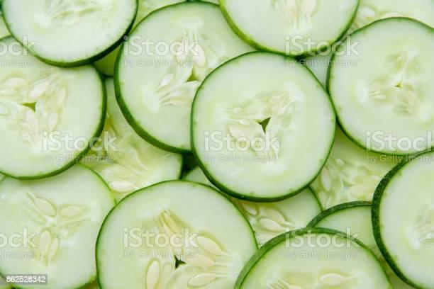 Fresh Cucumber Of Slices Backgroundfood Background - Fotografias de stock e mais imagens de Alimentação Saudável