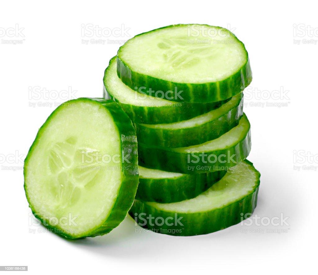 Fresh cucumber slices, isolated on white background stock photo