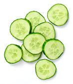 Fresh cucumber slices, isolated on white background