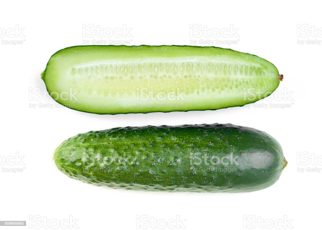 fresh cucumber with half slice isolated on white background stock photo