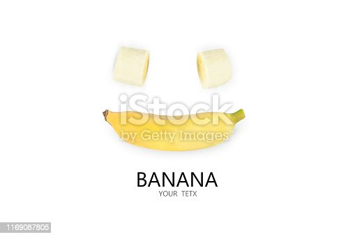 fresh cultivated banana slices  and Bright yellow Cultivated banana on white background. Banana with many nutritious food. Space for you to enter text.