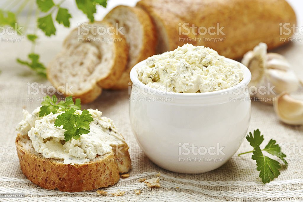 fresh curd cheese and bread stock photo