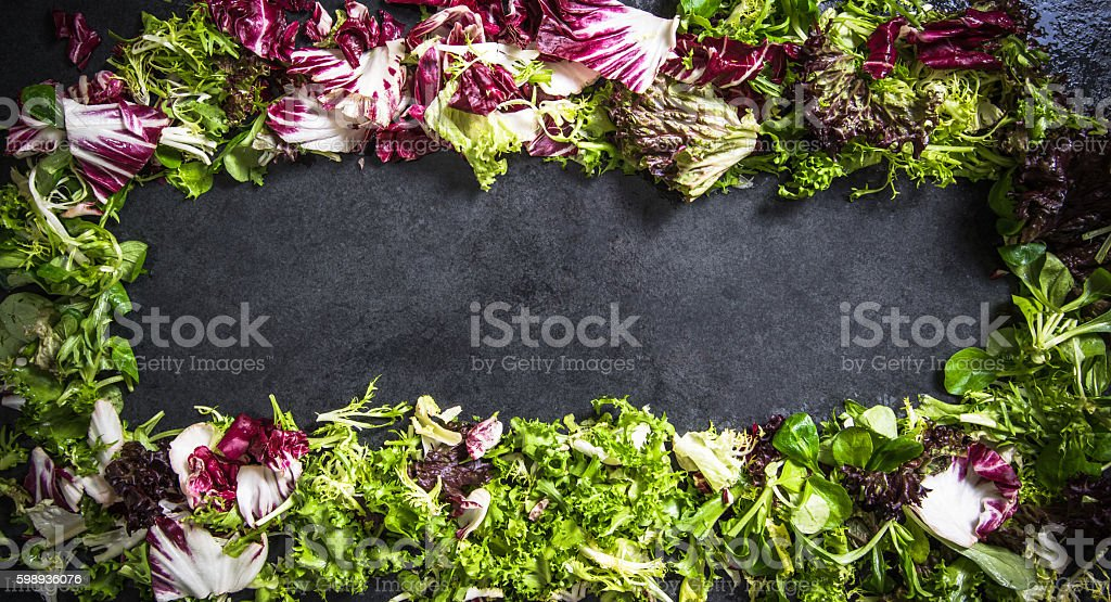 fresh curly salad copy space background stock photo