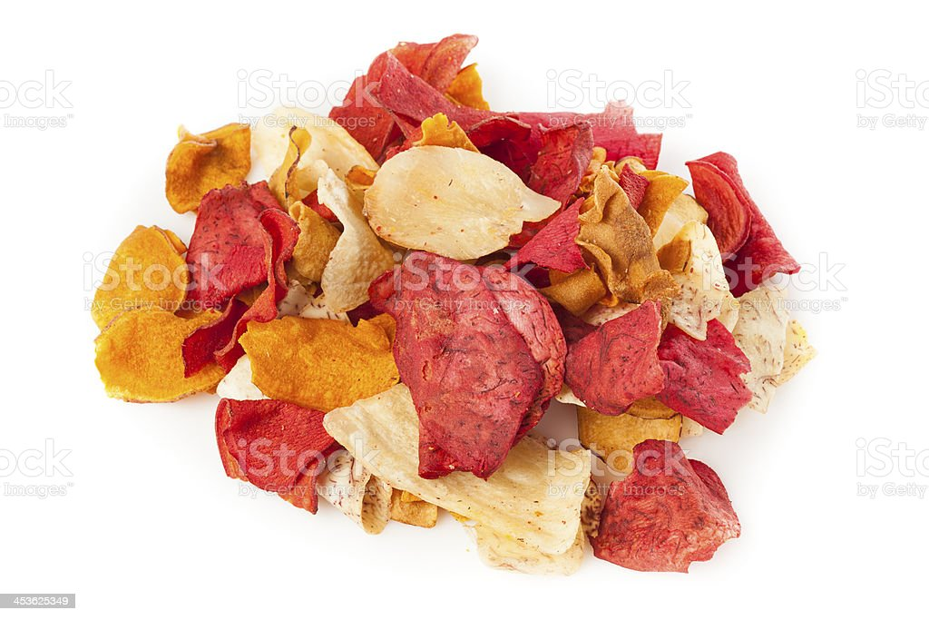 Fresh Cut Organic Vegetable Chips royalty-free stock photo