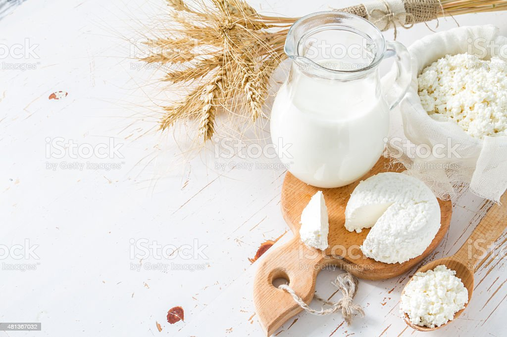 Fresh dairy products (milk, cottage cheese), wheat stock photo