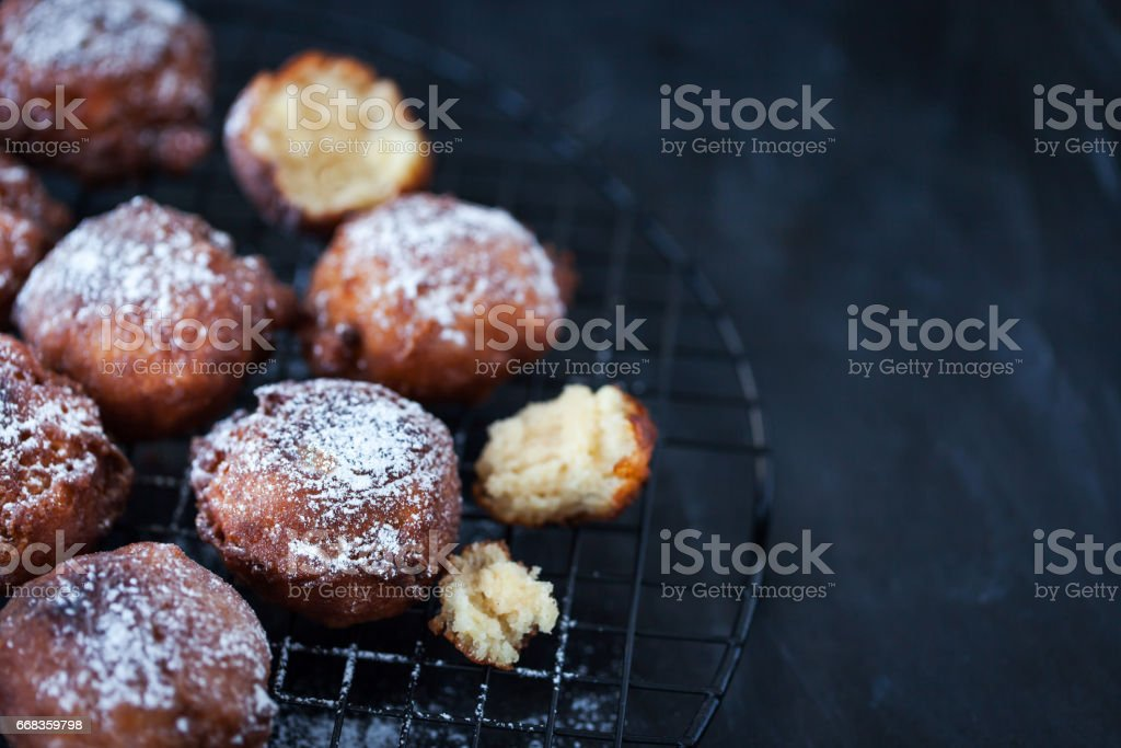 Fresh delicious homemade warm apple fritters stock photo