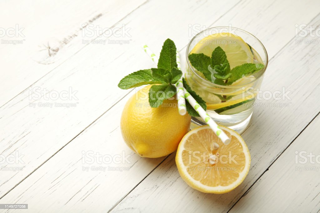 Fresh Detox Lemon Water Healthy Drink Summer Citrus Lemonade