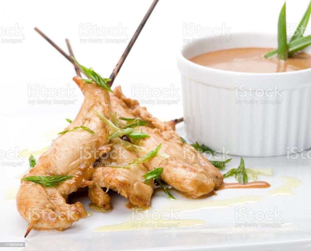 Fresh display of chicken satay royalty-free stock photo