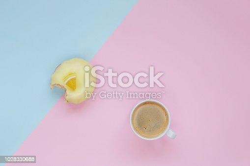 istock Fresh donut with coffee 1028330688
