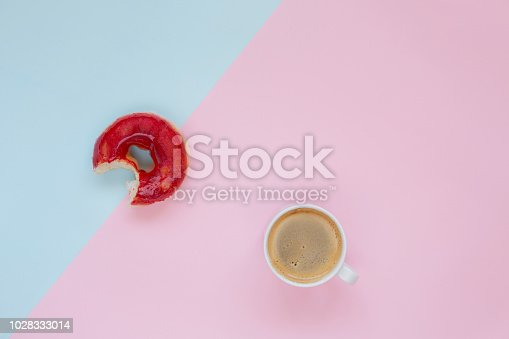 istock Fresh donut with coffee 1028333014