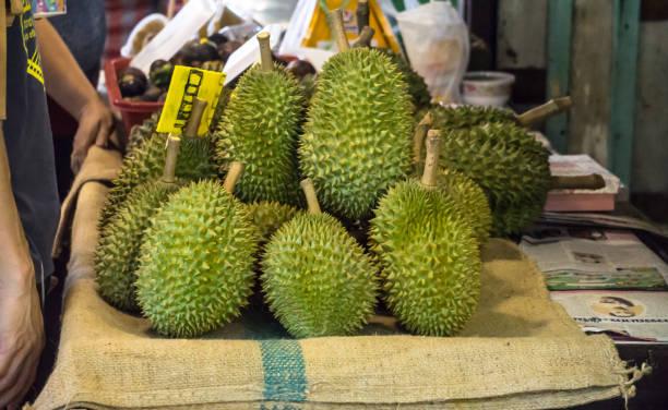 Fresh Durian Fruit arranged display on shelf in Market Fresh Food Concept stock photo