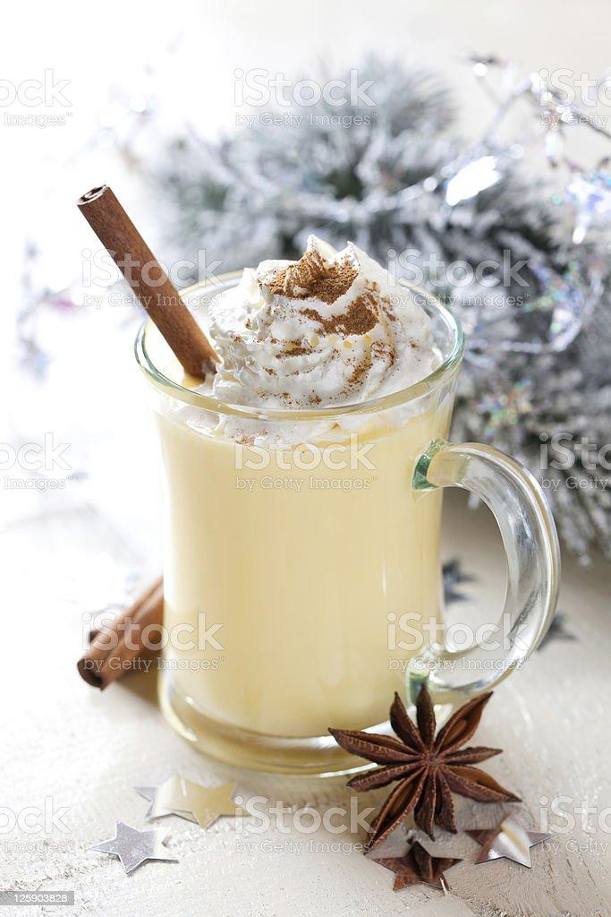 fresh eggnog with cinnamon royalty-free stock photo