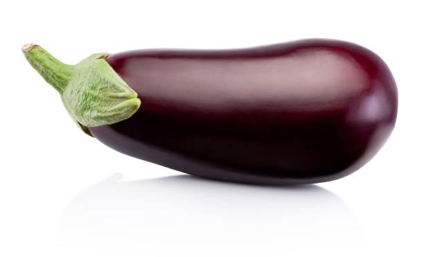 fresh eggplant isolated on a white background - melanzane foto e immagini stock