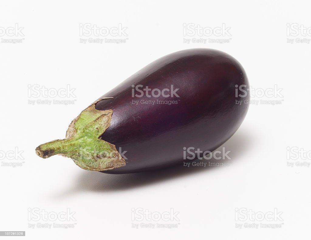 A fresh eggplant with a white background royalty-free stock photo