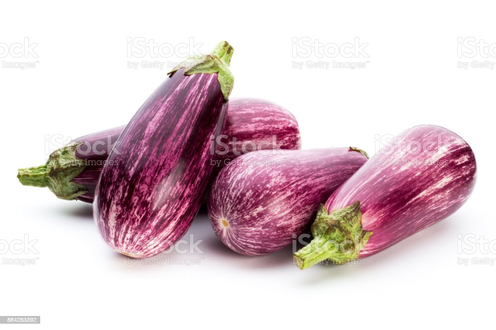 Fresh eggplants, aubergine on a white background. royalty-free stock photo