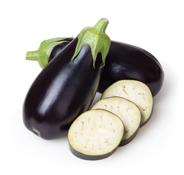 fresh eggplants isolated on white background with clipping path - melanzane foto e immagini stock