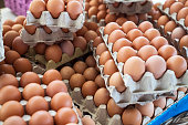 Fresh eggs being sold at farmers market