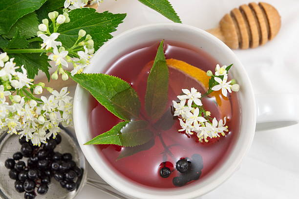 fresh elderberry tea - plantdeel stockfoto's en -beelden