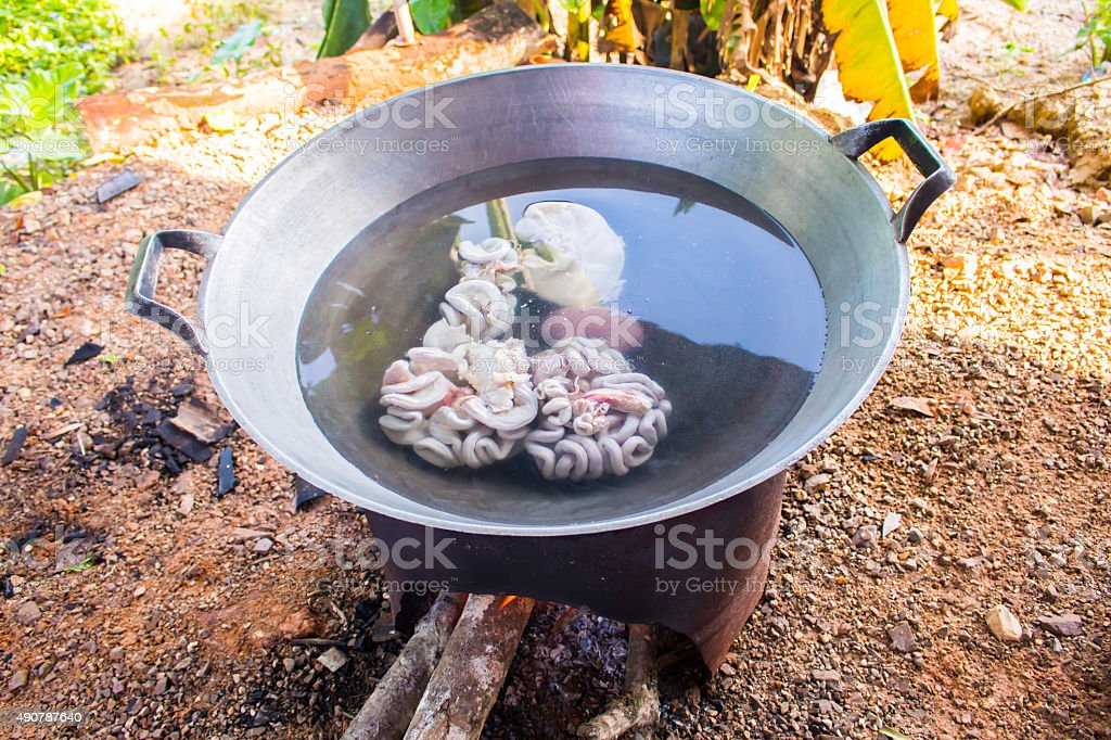 fresh entrails pig is boiling with hot water at slaughterhouse stock photo