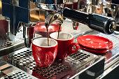 espresso brewing from espresso machine