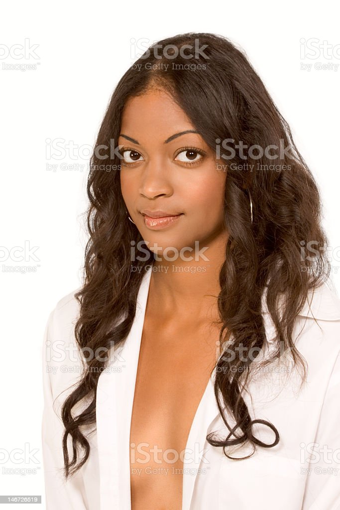 Fresh ethnic woman in suggestive unbuttoned shirt royalty-free stock photo