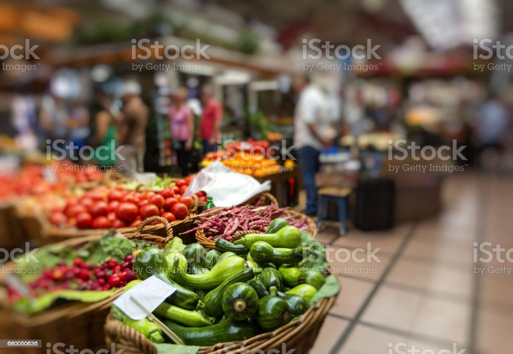 FUNCHAL, PORTUGAL - JUNE 25: Fresh exotic fruits in Mercado Dos Lavradores.on June 25, 2015 in Madeira Island, Portugal. stock photo